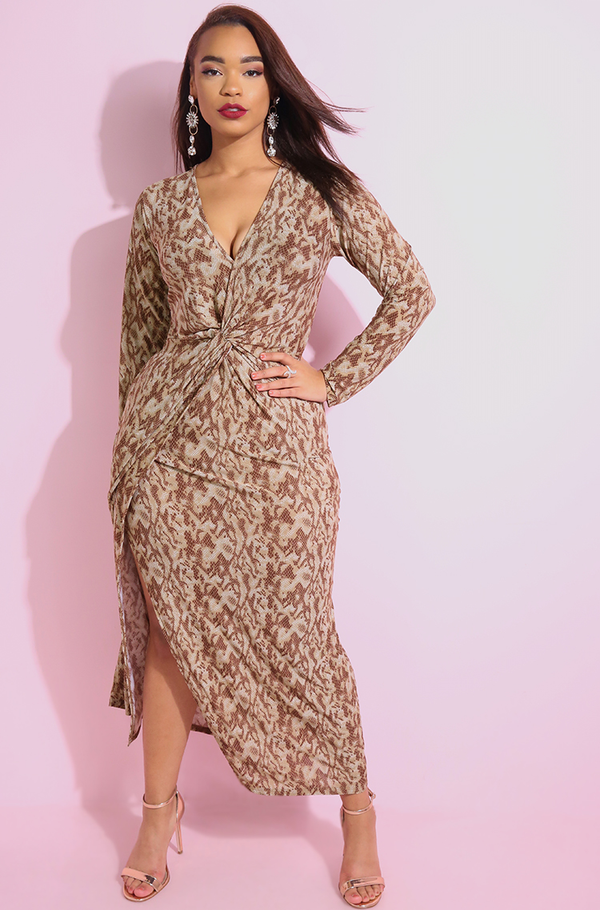 "Rebdolls ""One Thing"" Animal Print Knotted Maxi Dress"