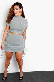 Olive Ruched Mini Skirt Plus Sizes