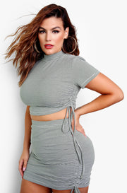Olive Stripe High Neck Ruched Crop Top Plus Sizes