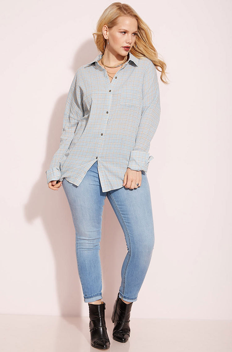 Light Blue Plaid Button Down Shirt plus sizes