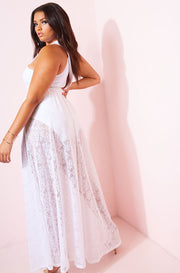 White Lace Skater Maxi Skirt Plus Sizes
