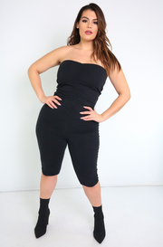 Black Ruched cropped Jumpsuit Plus Sizes