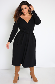 Black Ribbed Over The Shoulder Skater Midi Dress