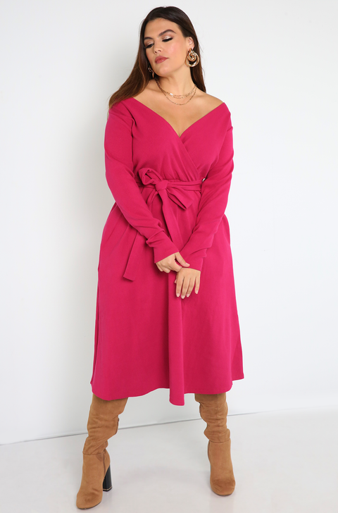 Fuchsia Ribbed Over The Shoulder Skater Midi Dress