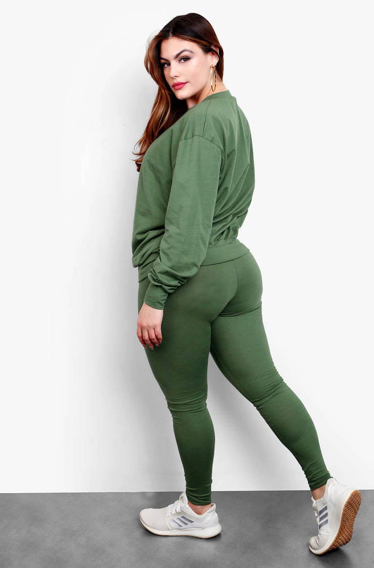 Olive Sweatshirt and Leggings Set Plus Sizes