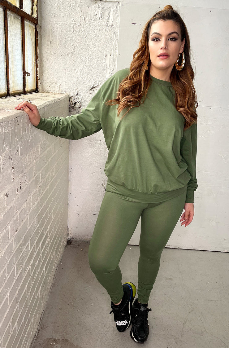 "Rebdolls ""On read"" Sweatshirt and Leggings Set - Olive"