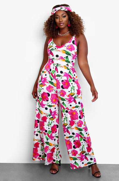 Fuchsia Floral Wide Leg Jumpsuit w. Turban Plus Sizes
