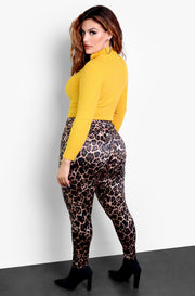 Brown Leopard Print Leggings Plus Sizes