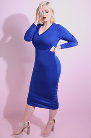 Royal Blue Cut Out Bodycon Midi Dress plus sizes