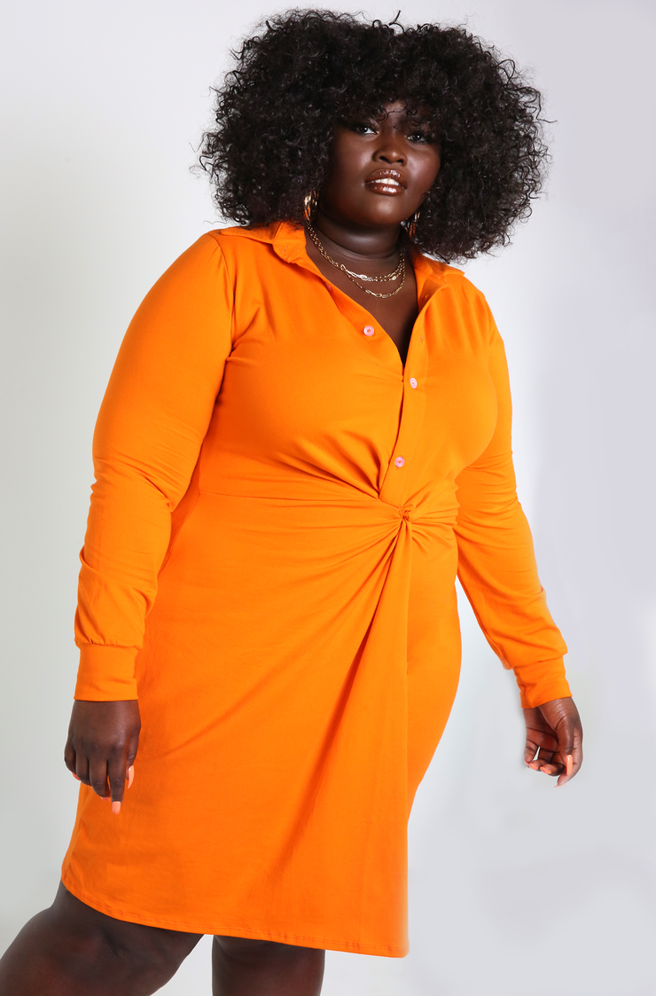 Orange Knotted Button Down Midi Dress Plus Sizes