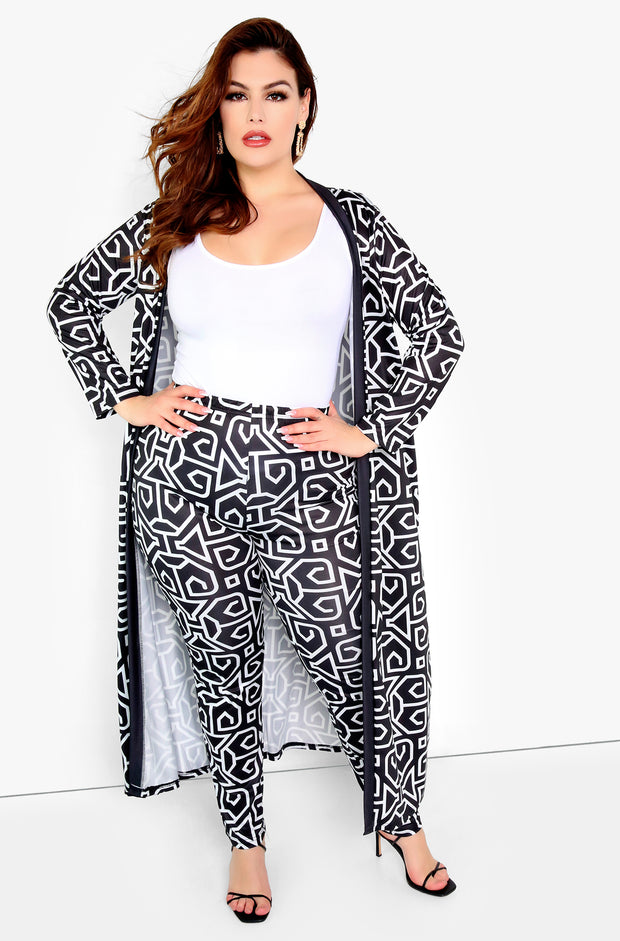 Black 3/4 Sleeve Cardigan Plus Sizes
