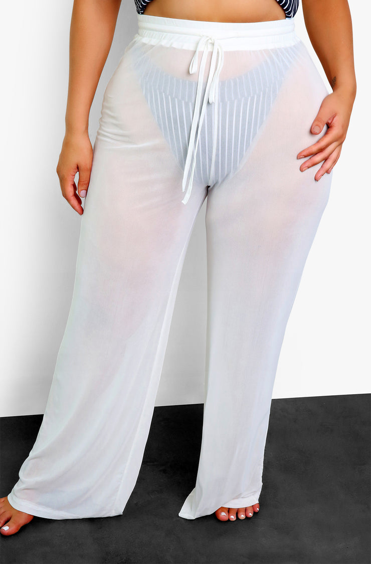 White Mesh Wide Leg Pants Plus Sizes