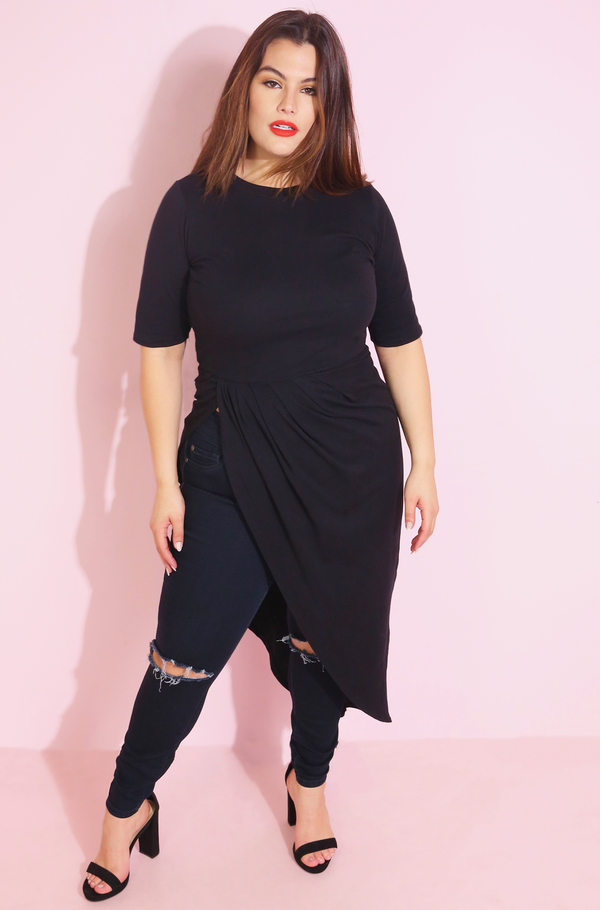 Black Side Slit Maxi Top Plus Sizes