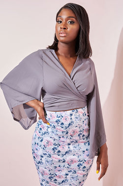 Gray  Wrapped Chiffon Top plus sizes