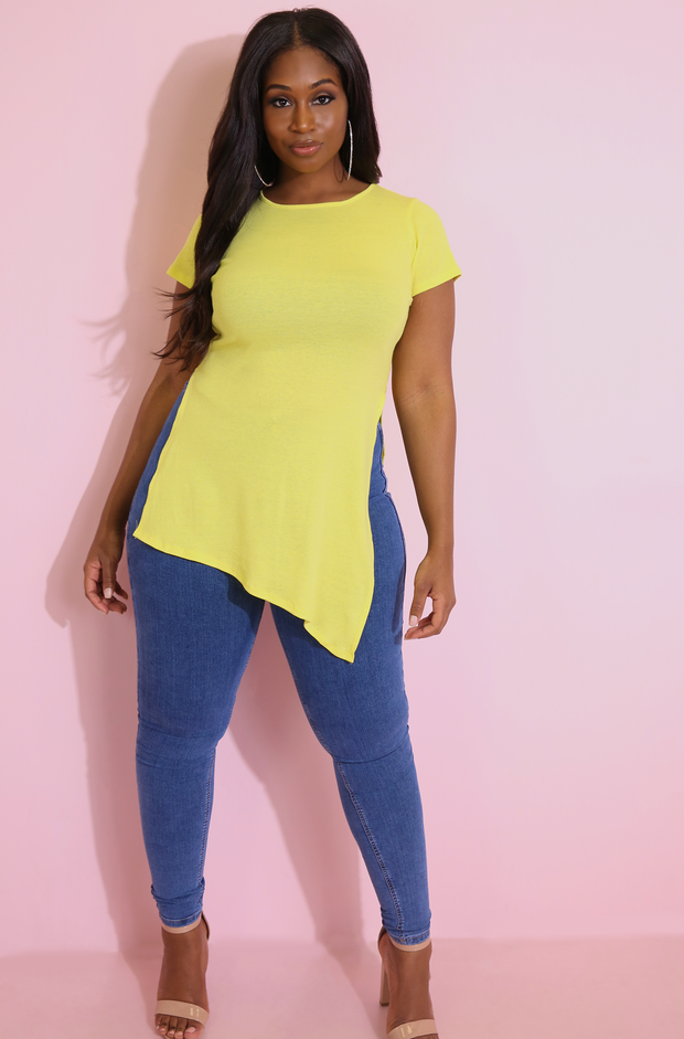 Yellow Side Slit Top Plus Sizes