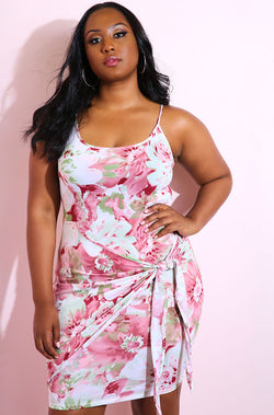 Pink Floral Front Tie Bodycon Mini Dress plus sizes