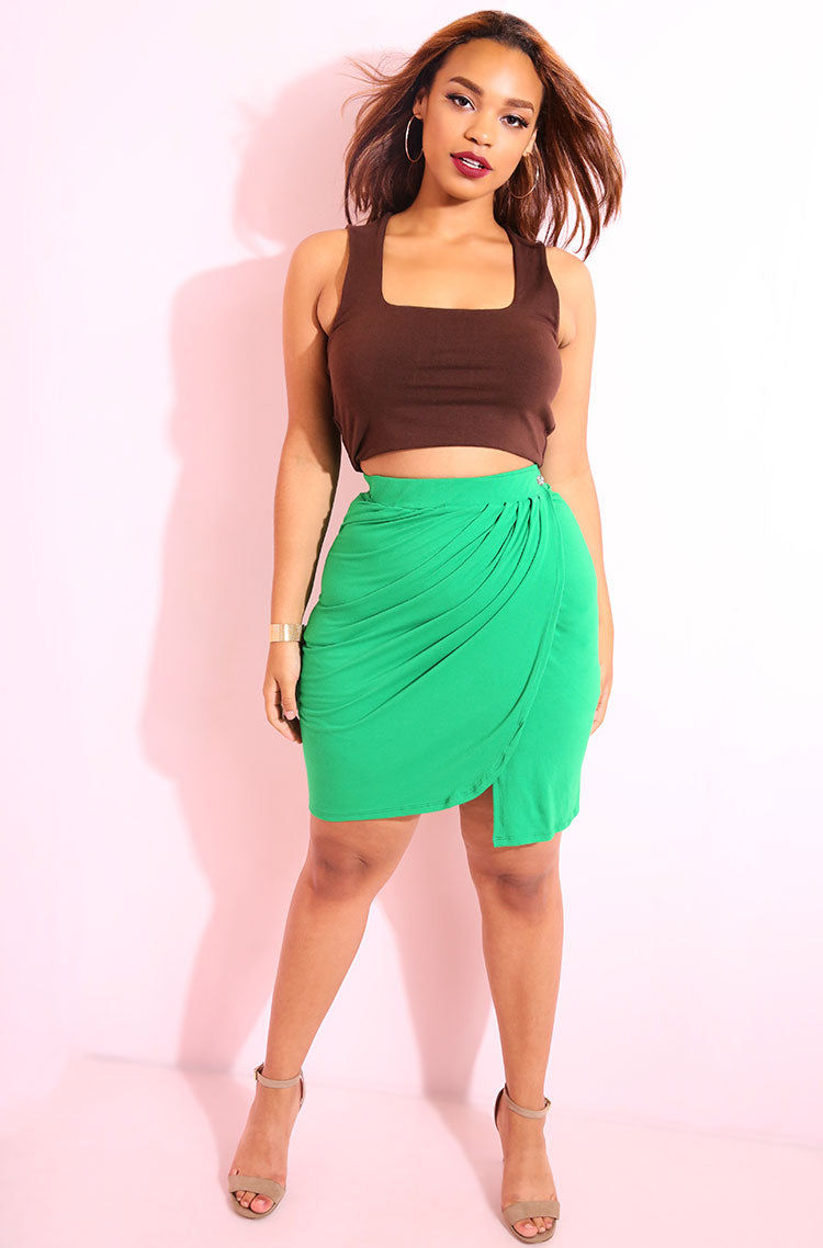 Brown Squared Neckline Crop Top plus sizes