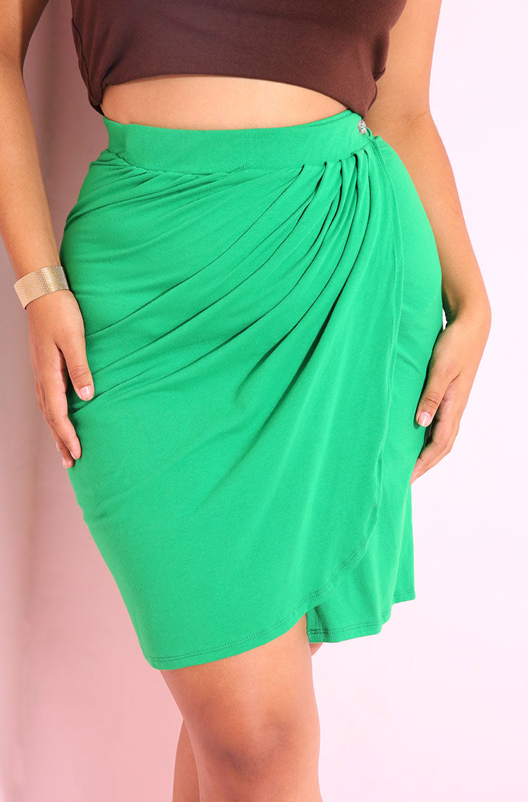 Green Pleated Bodycon Mini Skirt Plus Sizes