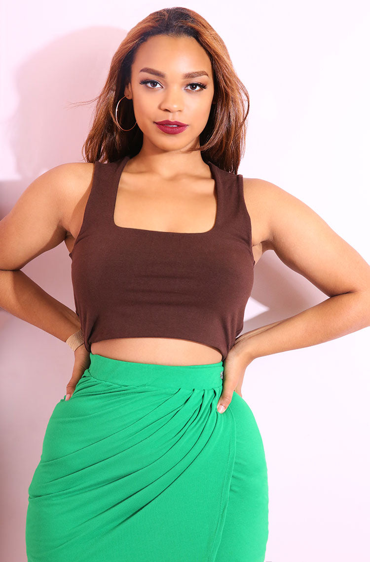 Brown Squared Neckline Crop Top