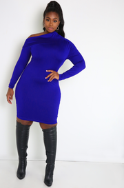 Royal Blue One Shoulder Bodycon Mini Dress Plus Sizes