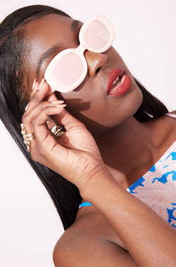 Baby Pink Reflective Sunglasses