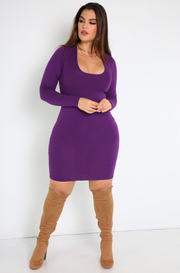 Purple Squared Neckline Mini Dress Plus Sizes