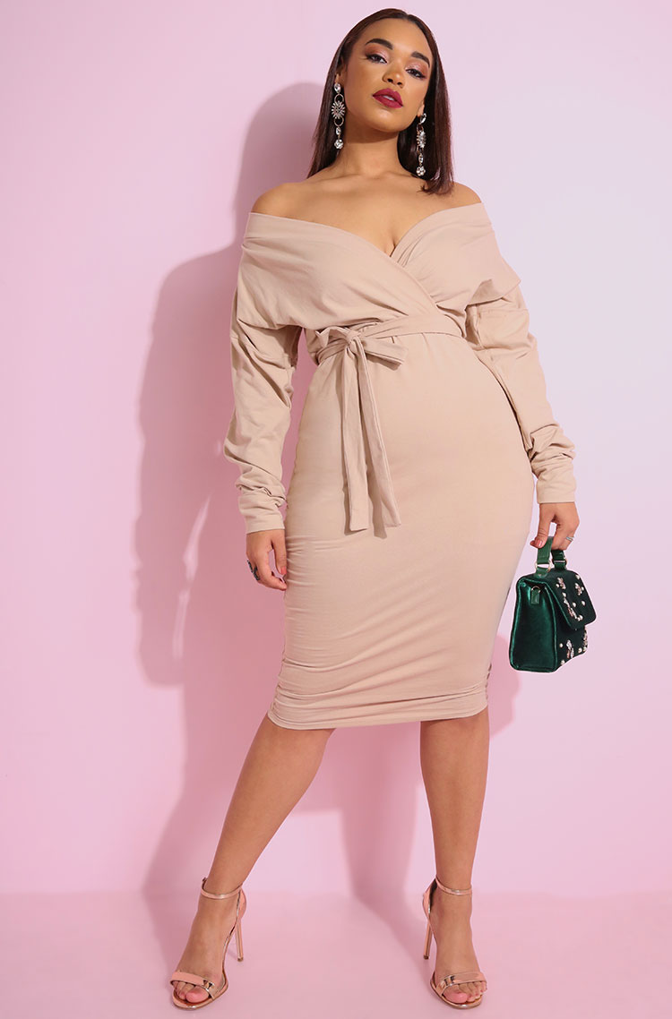 "Rebdolls ""Over You"" Over The Shoulder Bodycon Midi Dress"