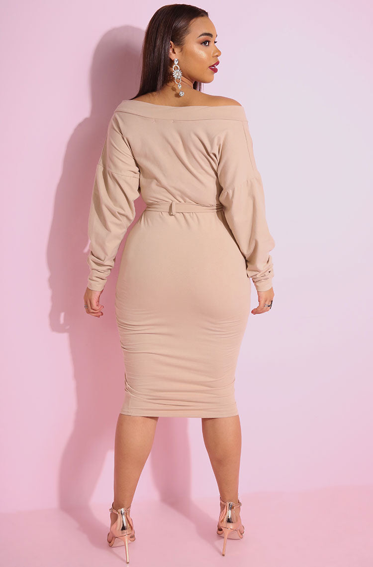 Nude Over The Shoulder Bodycon Midi Dress with oversized puff sleeves