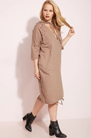 Mocha Distressed Sweater Shift Midi Dress plus sizes