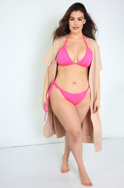 Neon Pink Tie Bikini Swimsuit Bottom Plus Sizes