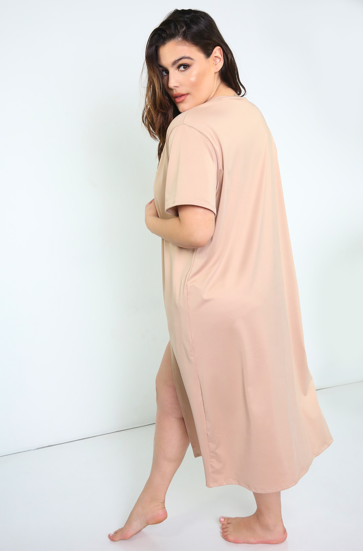 Nude Oversized Swimsuit Cover Up Kimono Plus Sizes
