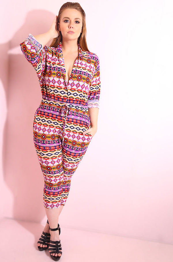 Button Down, aztec print long sleeve blouse and jogger jumpsuit plus sizes