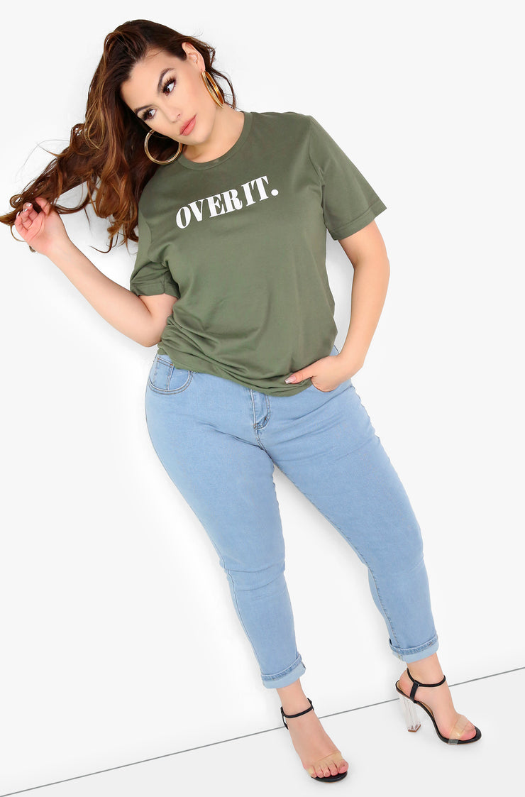 Olive Graphic Crew Neck T-Shirt Plus Size
