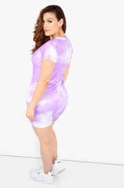 Purple Tie Dye Short Leggings Plus Sizes