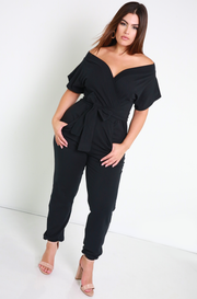 Black Drop Sleeve Jumpsuit Plus Sizes