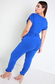 Royal Blue Drop Sleeve Jumpsuit Plus Sizes