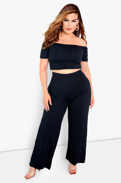 Black Essential High Waist Wide Leg Pants Plus Sizes