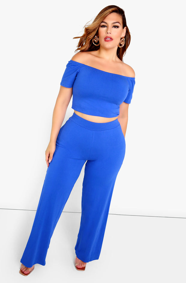 Rpyal Blue Essential High Waist Wide Leg Pants Plus Sizes