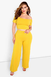 Mustard  Essential High Waist Wide Leg Pants Plus Sizes