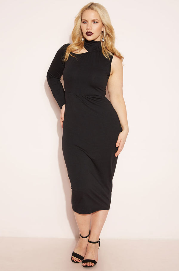 Black One Sleeve Midi Dress plus sizes