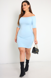 Blue Over The Shoulder Mini Dress Plus Sizes
