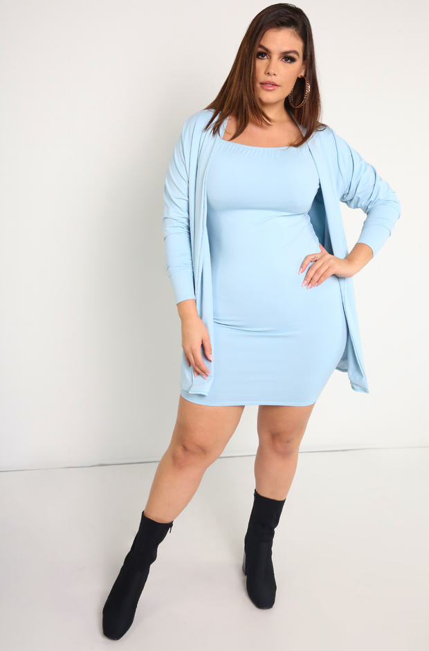 Blue  Long Sleeve Duster Plus Sizes