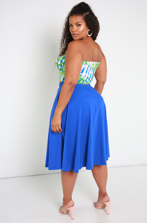 Blue Floral Tube Top Plus Sizes