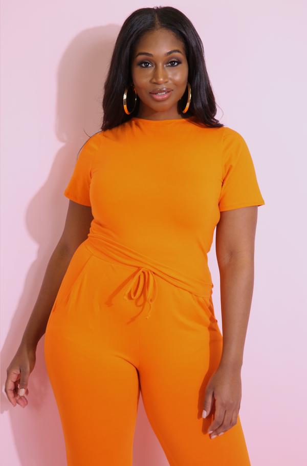 Orange Crew Neck Crop Top Plus Sizes