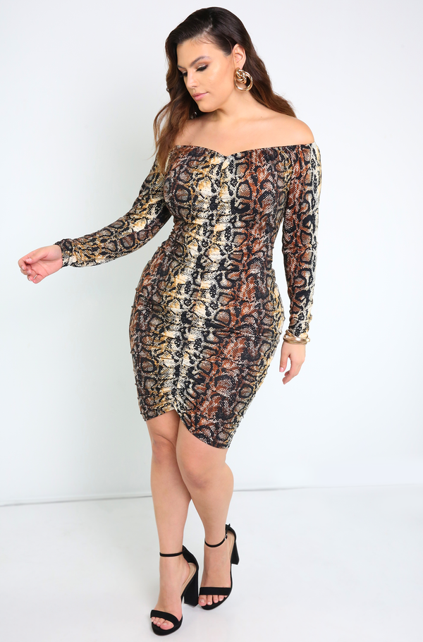 Brown Ruched Snake Print Mini Dress Plus Sizes