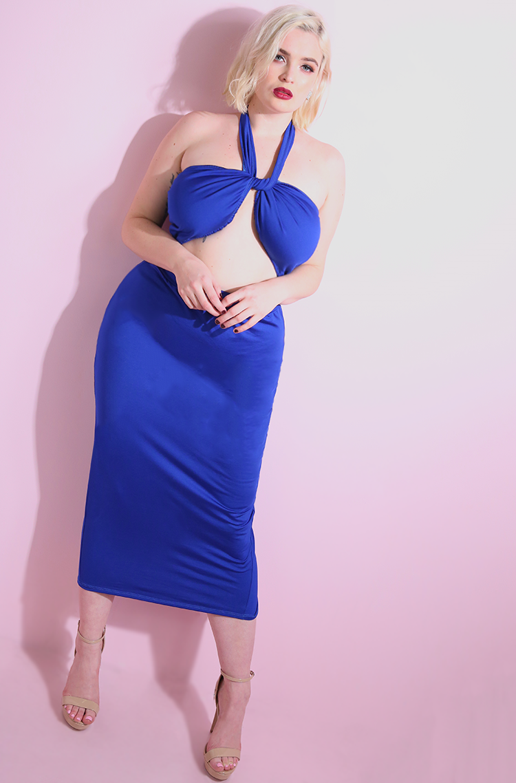 Royal Blue Halter Cut-Out Midi Dress plus sizes