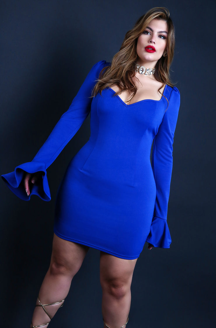 Royal Blue Plus Size Puff & Flared Long Sleeve Bodycon Mini Dress