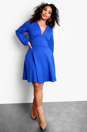 Royal Blue Plus Size Deep V-Neck Long Sleeve Skater Midi Dress