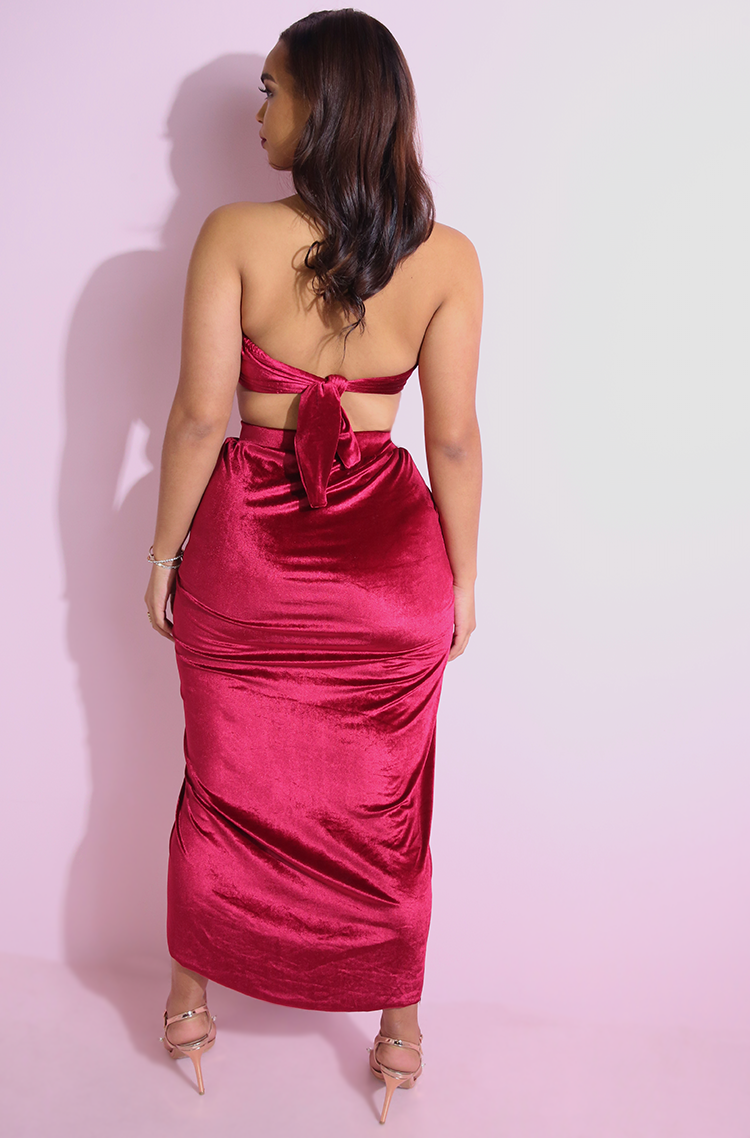 Burgundy Draped Velvet Skater Maxi Skirt plus sizes
