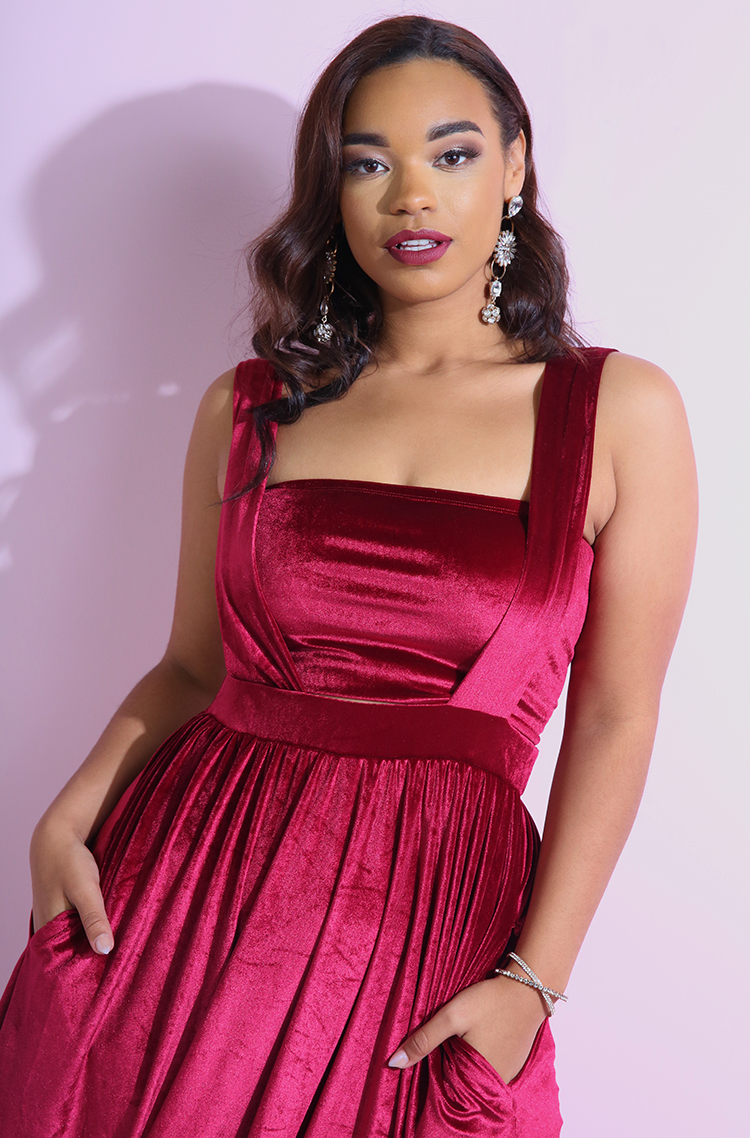 Burgundy Velvet Tube Top plus sizes